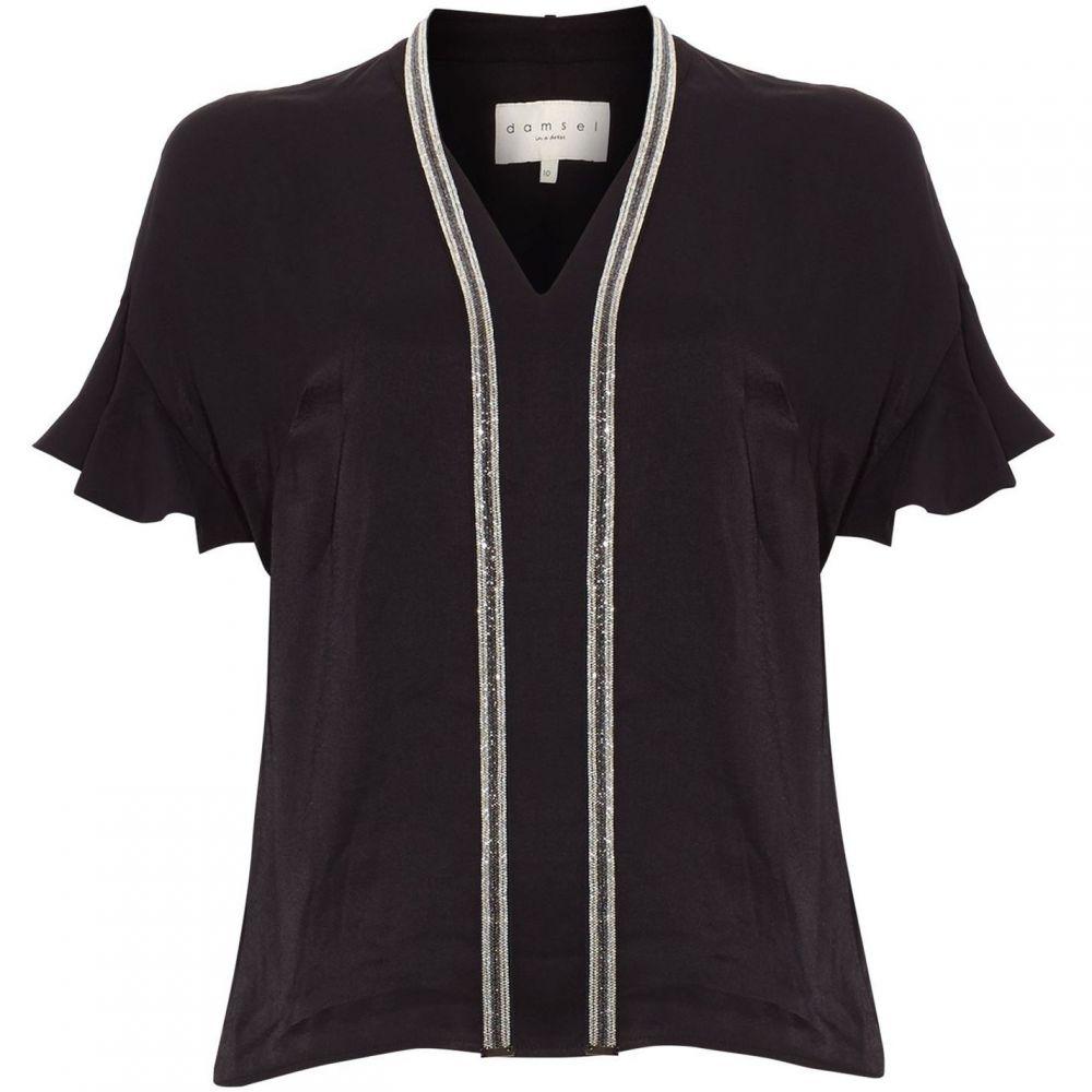 ダンセル Damsel in a Dress レディース ブラウス・シャツ トップス【Marianna Beaded Collar Blouse】Black