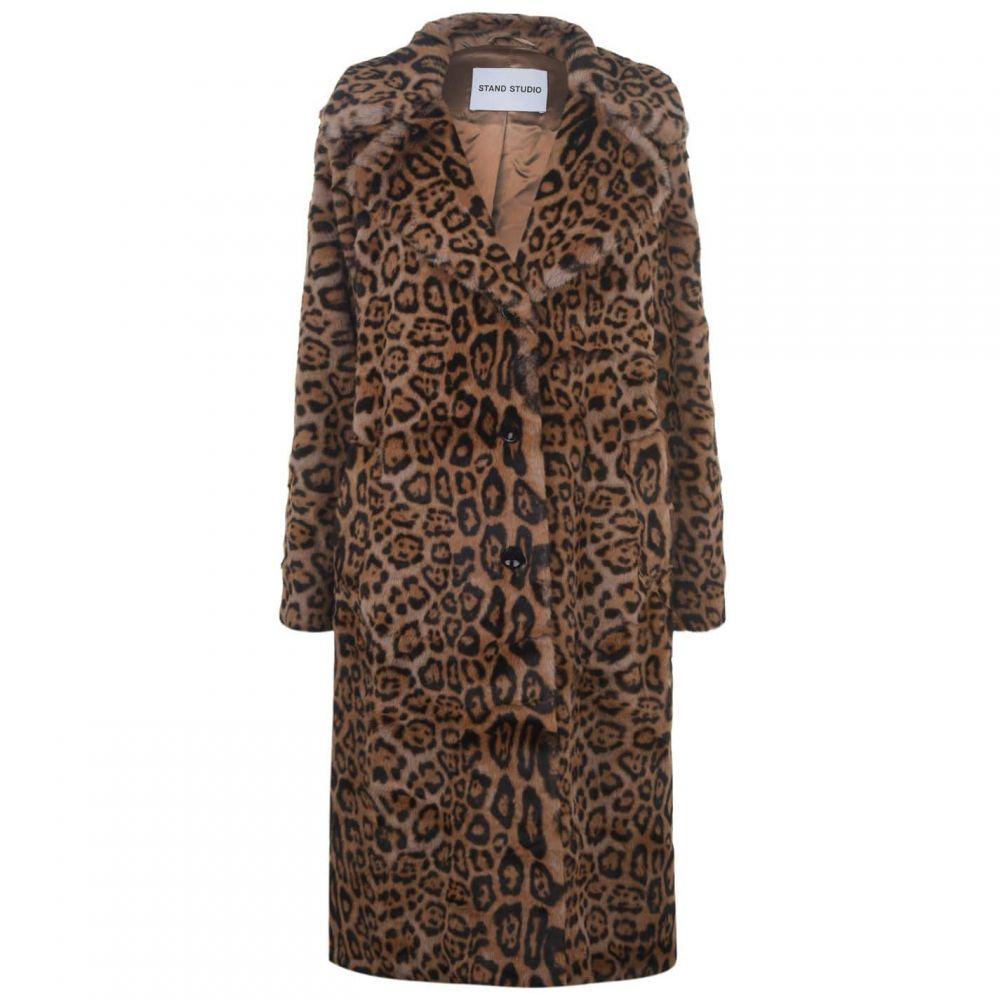 Faux STAND Fur コート ファーコート スタンド レディース Coat】Beige アウター【Fanny