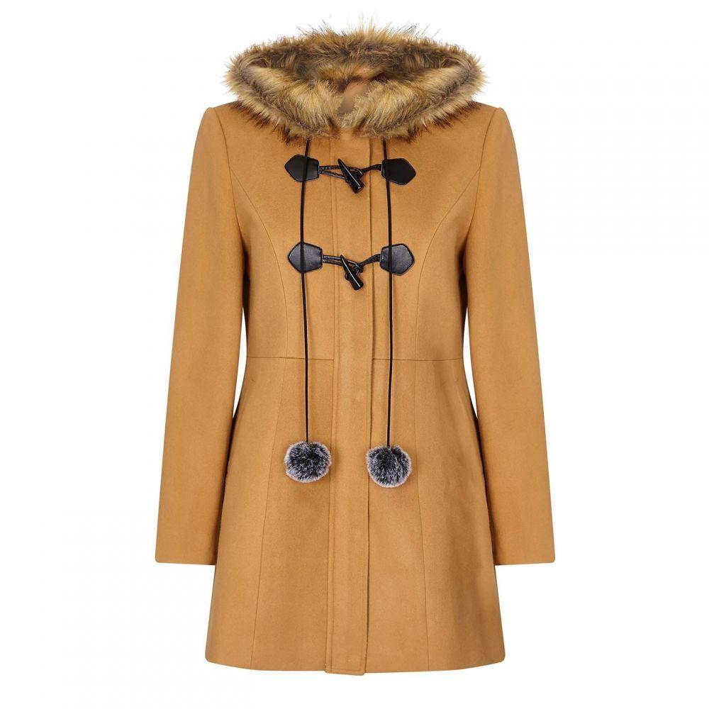 ユミ Yumi レディース コート ダッフルコート アウター【Duffle Coat With Pom-Poms】Camel