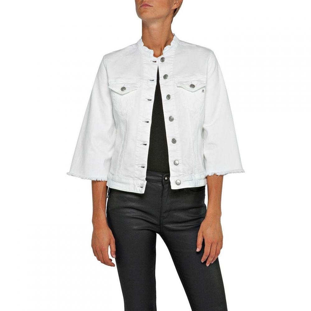 リプレイ Replay レディース ジャケット Gジャン アウター【Denim Jacket With Bell Sleeves】White
