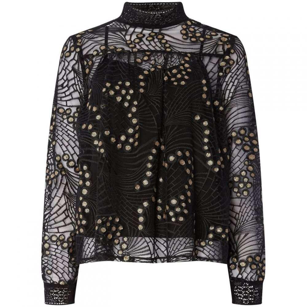 ビバ Biba レディース ブラウス・シャツ トップス【Lace and Sequin Blouse】Black