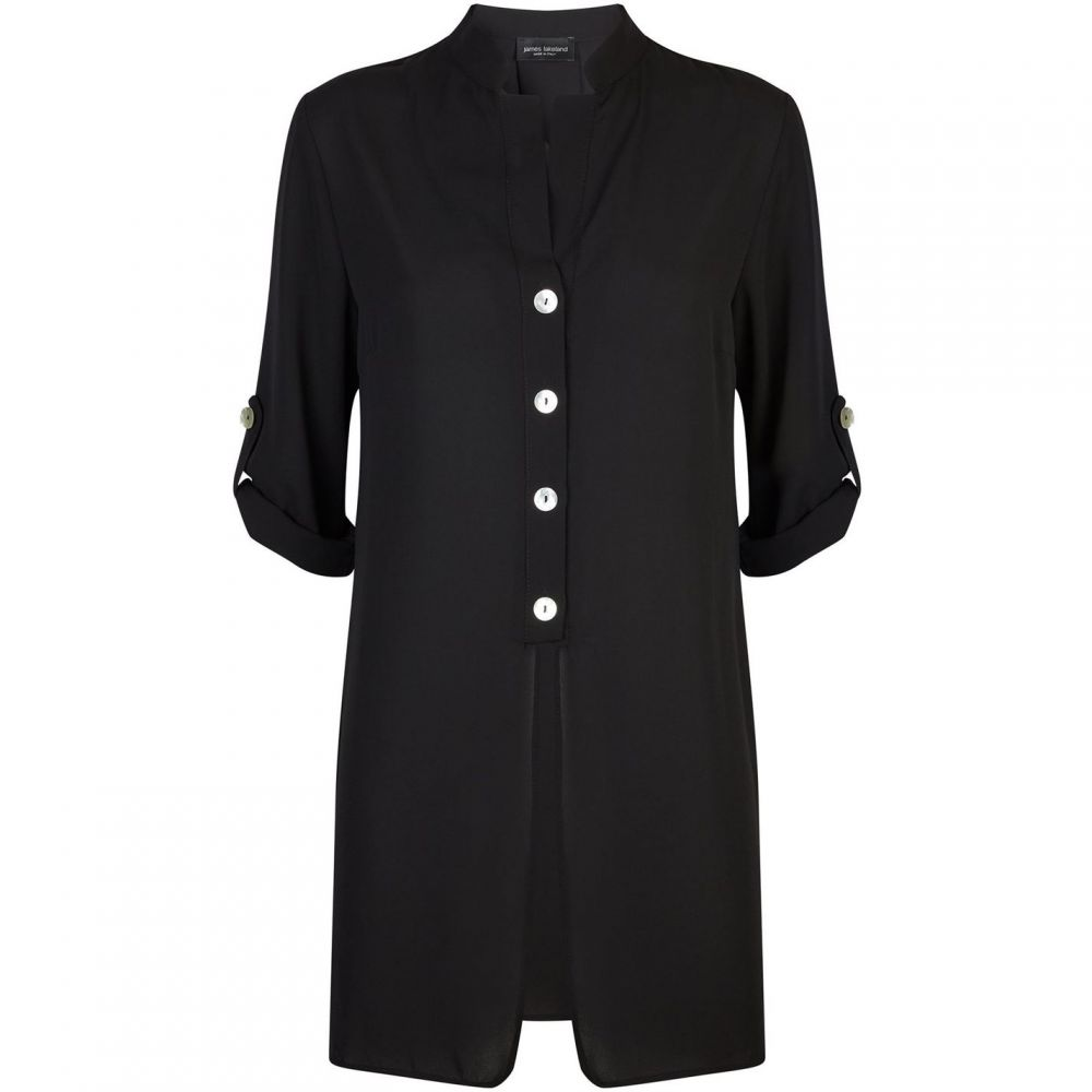 ジュームズ レイクランド James Lakeland レディース ブラウス・シャツ トップス【Button Roll Sleeve Shirt】Black