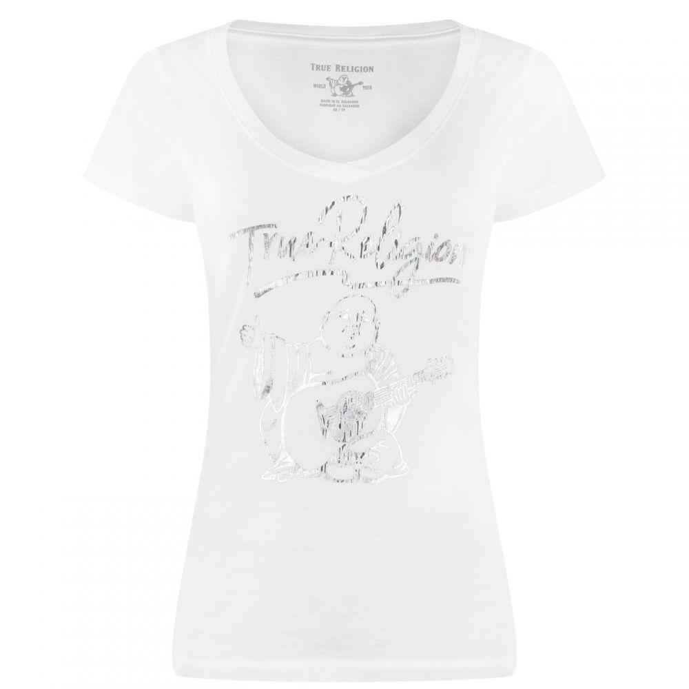 トゥルー レリジョン TRUE RELIGION レディース Tシャツ Vネック トップス【Buddah V Neck T Shirt】White