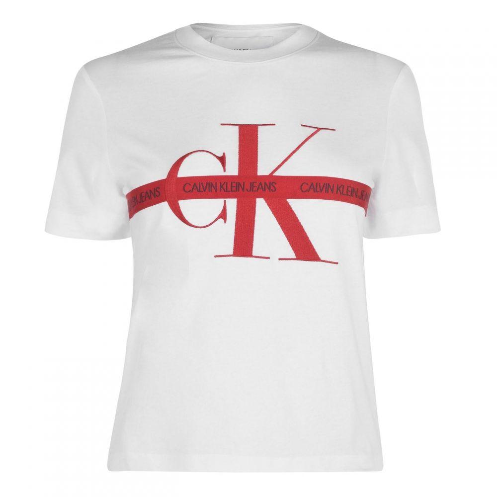 カルバンクライン Calvin Klein Jeans レディース Tシャツ トップス【Mono Tape T Shirt】BRIGHT WHITE