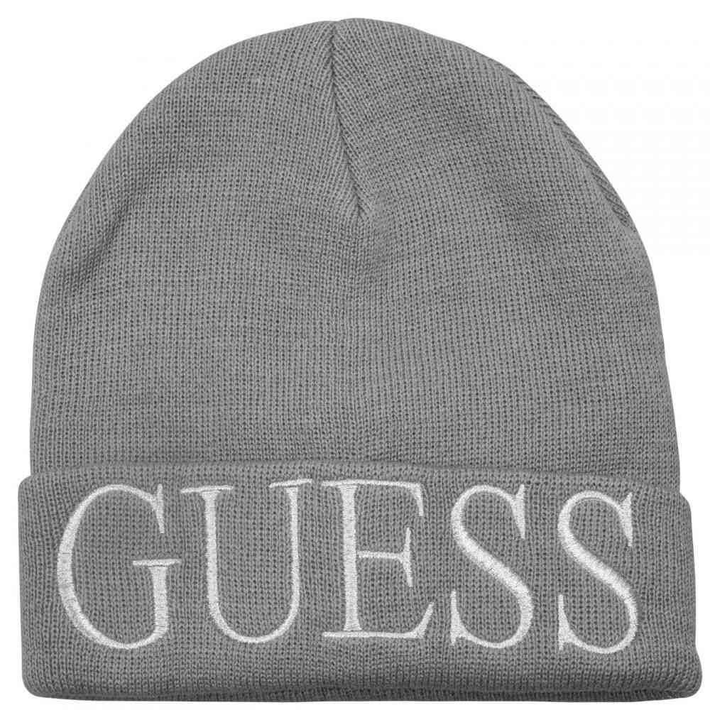 ゲス レディース 帽子 超定番 ニット サイズ交換無料 Guess GRY Grey 引出物 Beanie Logo ビーニー