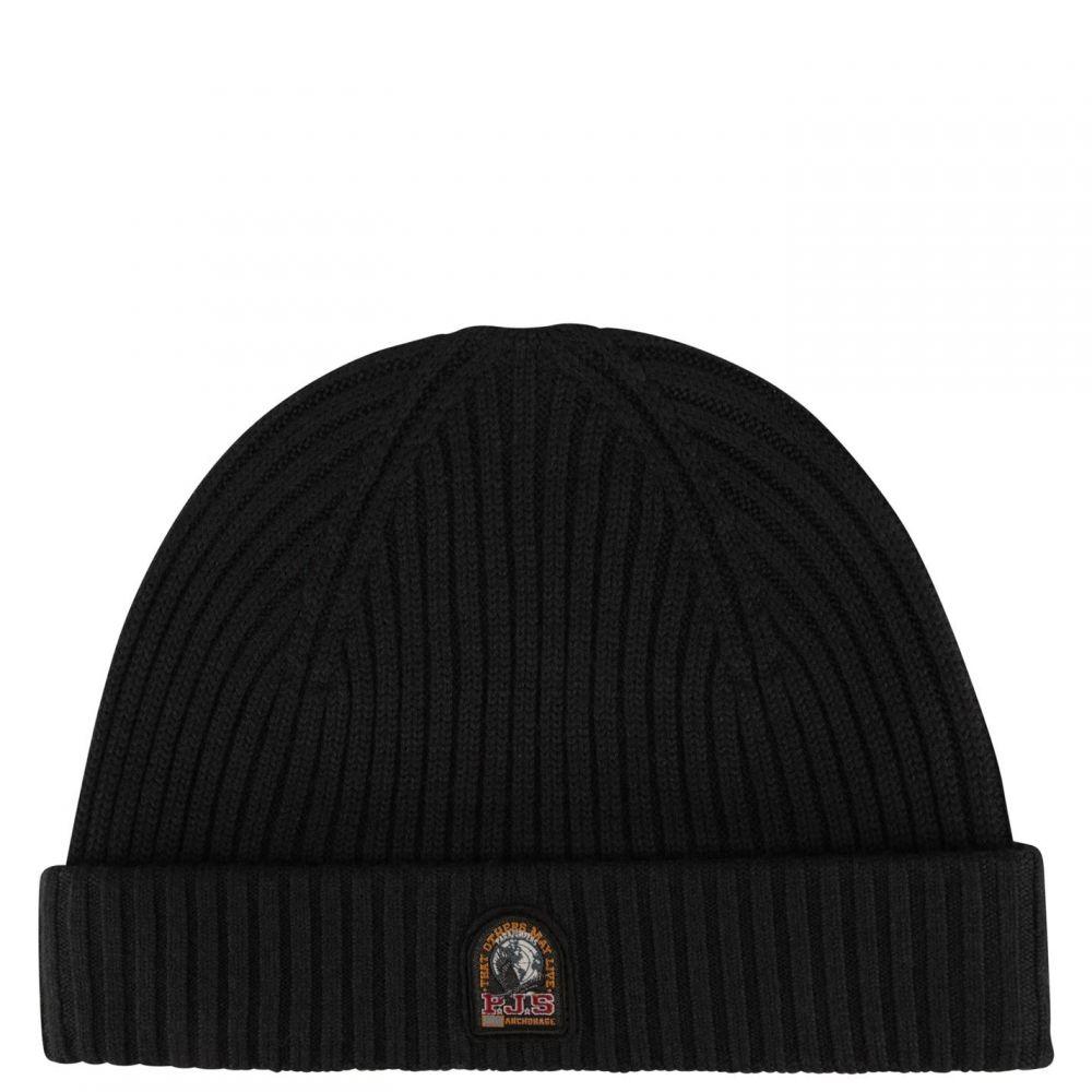 パラジャンパーズ PARAJUMPERS メンズ ニット ビーニー 帽子【Rib Knitted Beanie Hat】Black