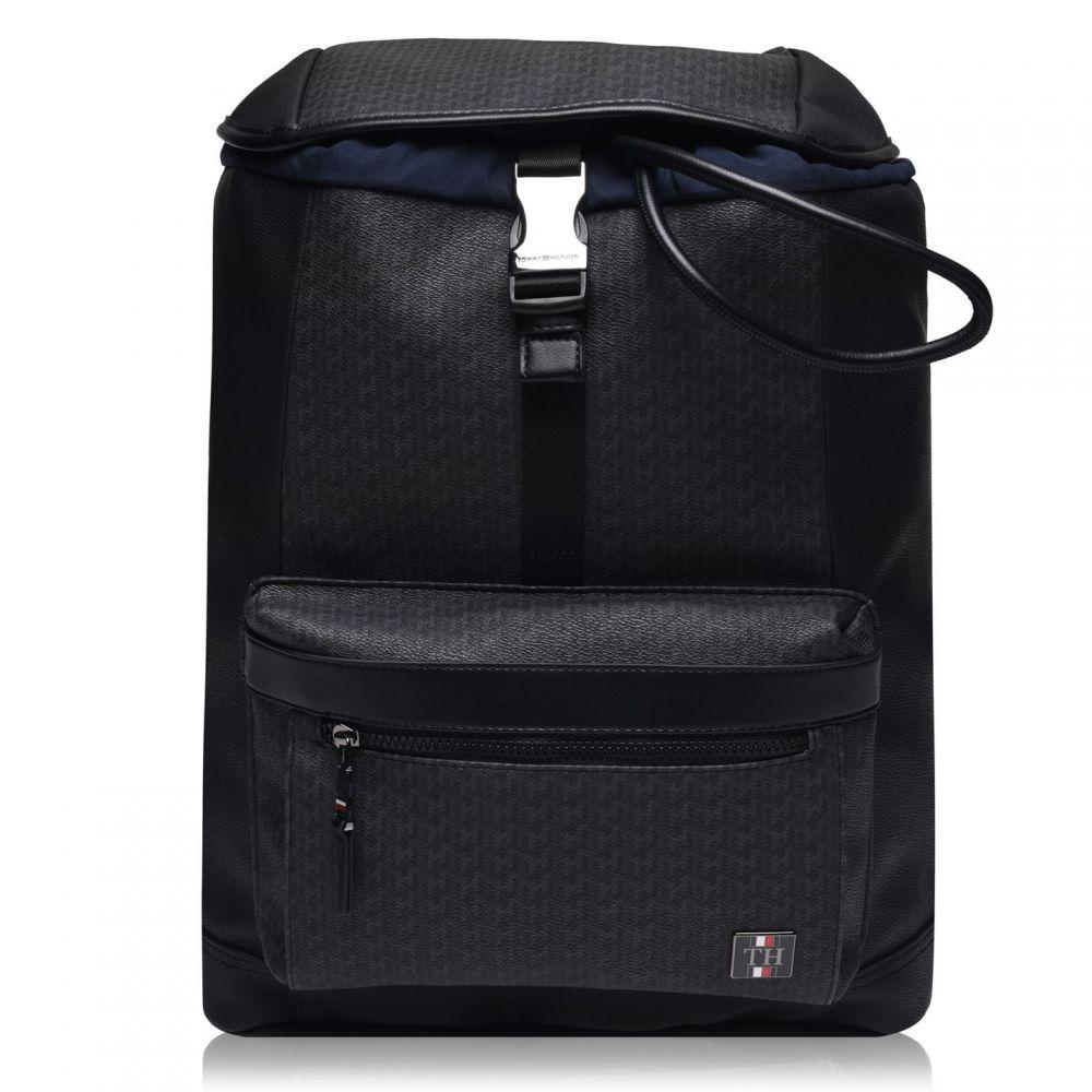 トミー ヒルフィガー TOMMY HILFIGER メンズ バックパック・リュック バッグ【Monogram Flap Backpack】Black J