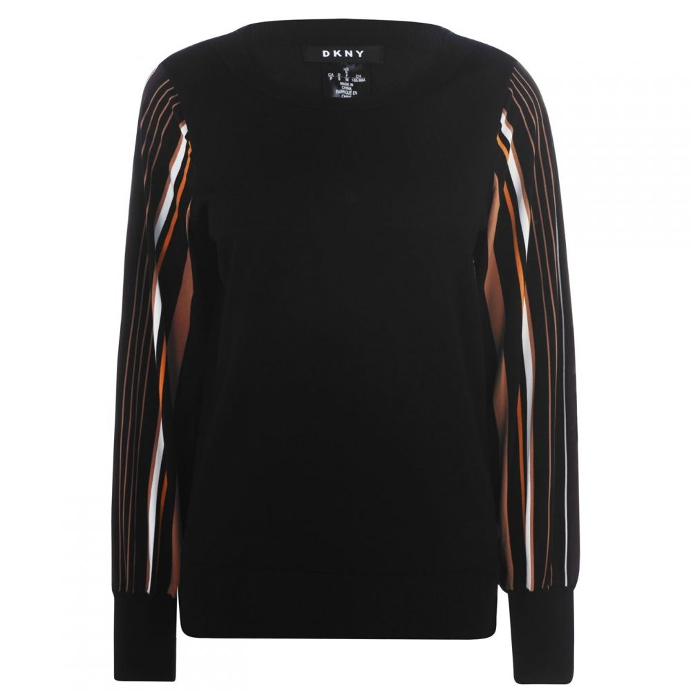 ダナ キャラン ニューヨーク DKNY レディース スウェット・トレーナー トップス【Combo Sleeve Sweatshirt】BLACK NEW CAMEL