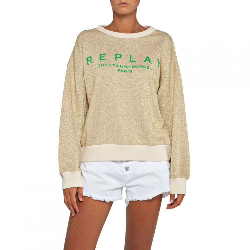リプレイ Replay レディース スウェット・トレーナー トップス【Crewneck Wide Fit Sweatshirt】Gold Metallic