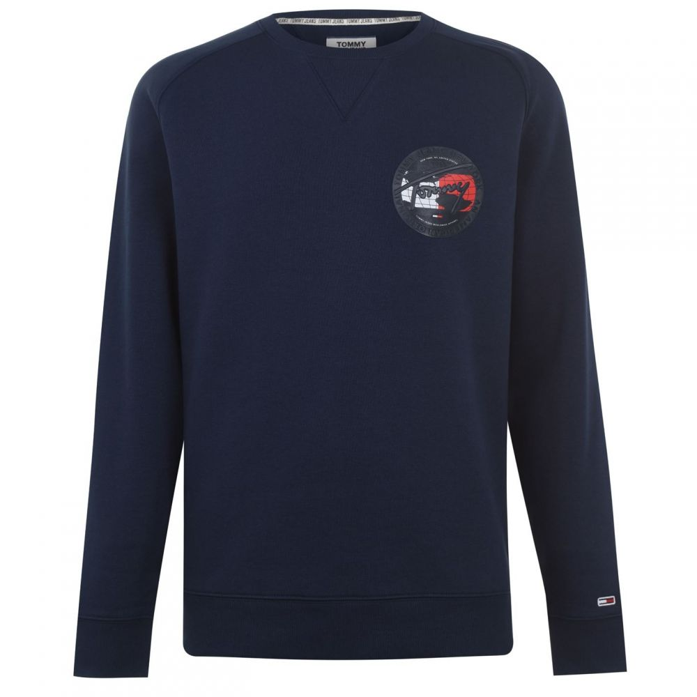トミー ジーンズ Tommy Jeans メンズ スウェット・トレーナー トップス【Out Chest Crew Sweatshirt】Black Iris