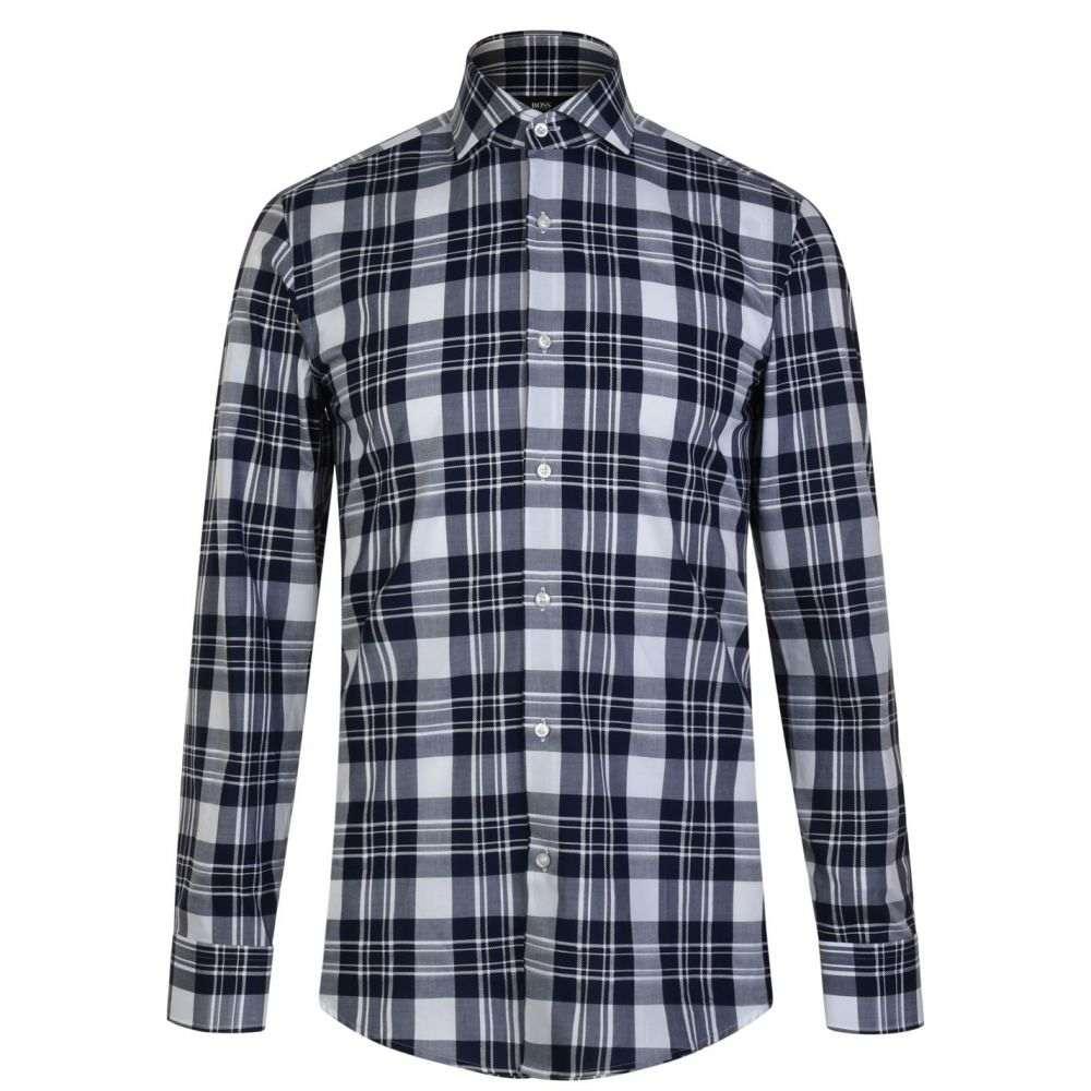 ヒューゴ ボス BOSS メンズ シャツ トップス【Jason Long Sleeved Shirt】Navy/White