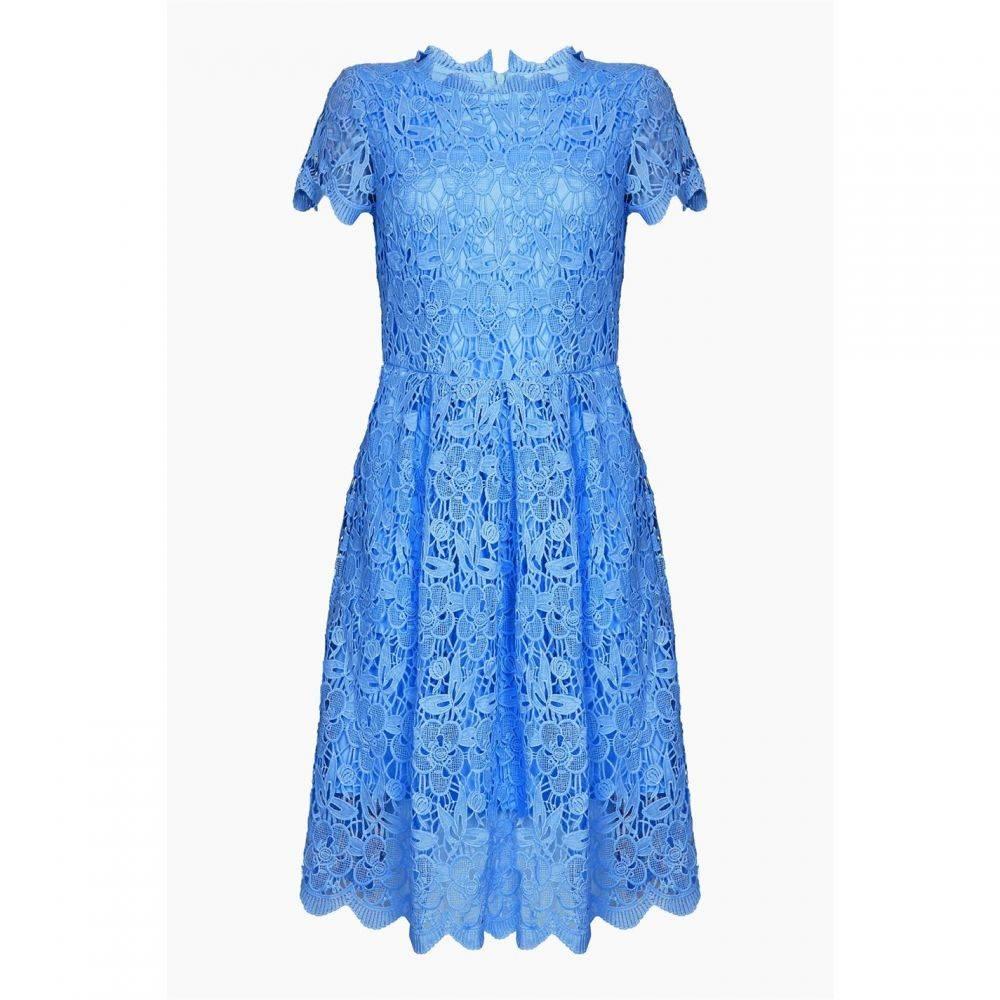 ユミ Yumi Curves レディース ワンピース スケータードレス ワンピース・ドレス【Floral Lace Prom Skater Dress】Blue