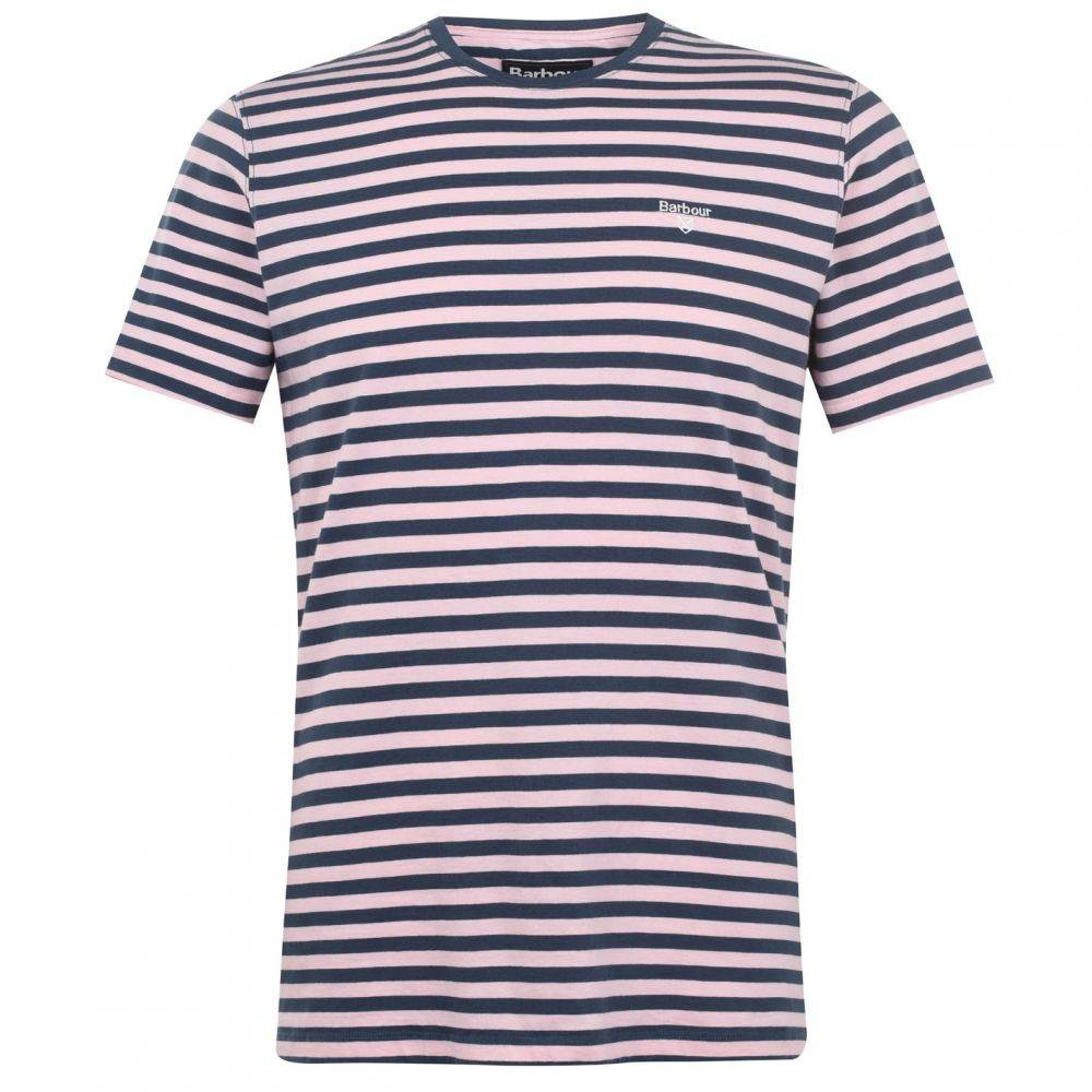 バブアー Barbour Lifestyle メンズ Tシャツ トップス【Delamare Striped T-Shirt】Pink PI