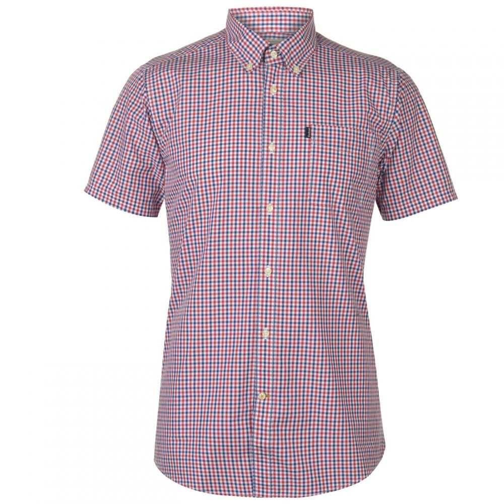 バブアー Barbour Lifestyle メンズ 半袖シャツ トップス【Barbour Ggham Short Sleeve Shirt】Red