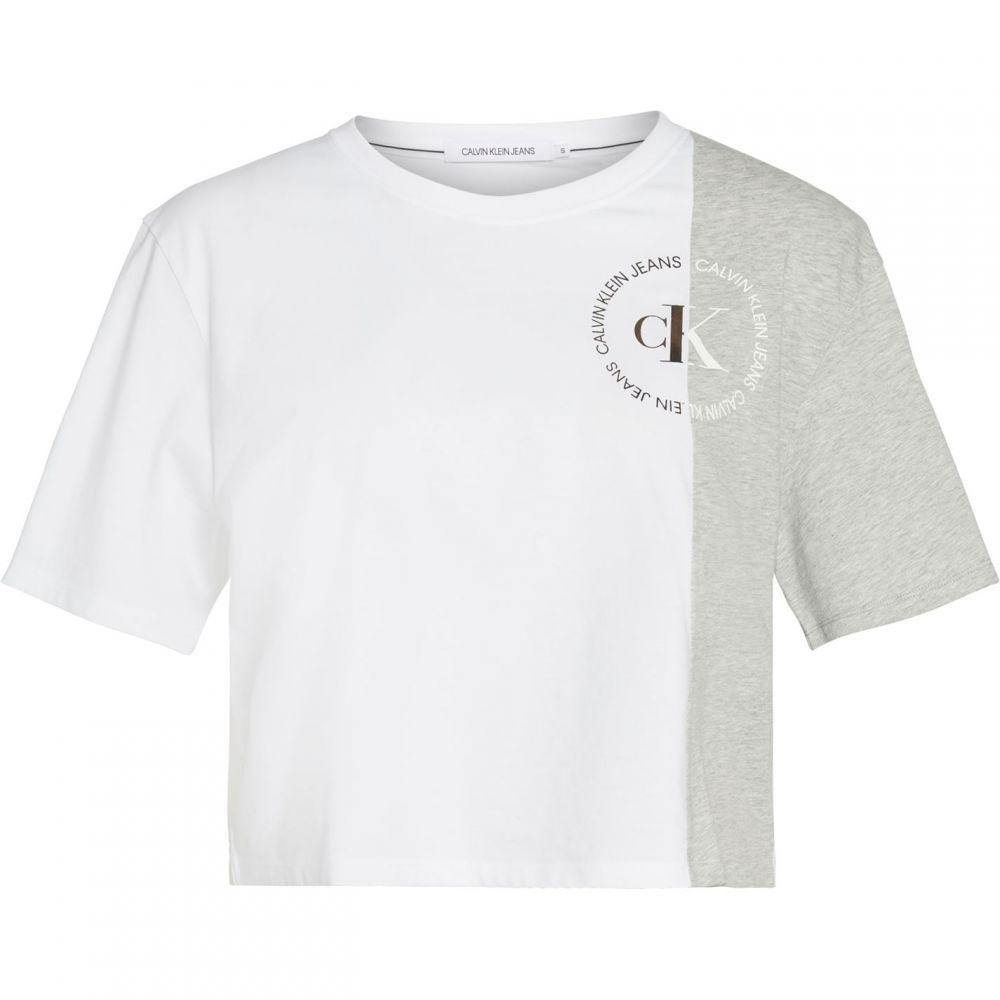 カルバンクライン Calvin Klein Jeans レディース Tシャツ トップス【Round Block T Shirt】Light Grey Hthr