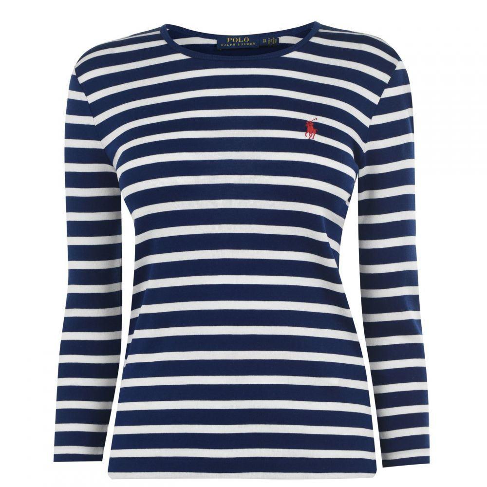 ラルフ ローレン Polo Ralph Lauren レディース ニット・セーター トップス【Polo Stripe three quarter Knit】Navy/White