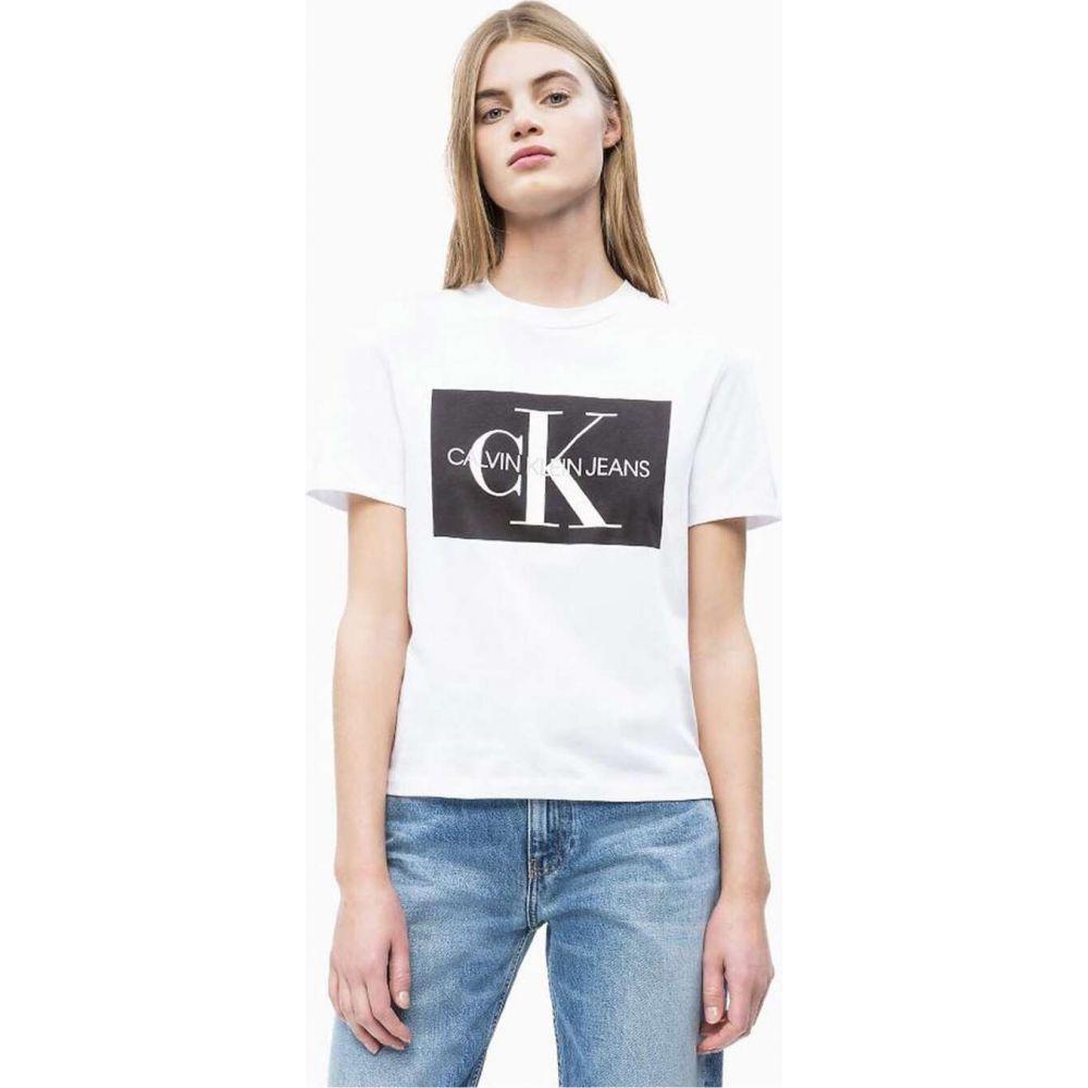 カルバンクライン Calvin Klein Jeans レディース Tシャツ トップス【mono box logo t-shirt】Bright White/CK