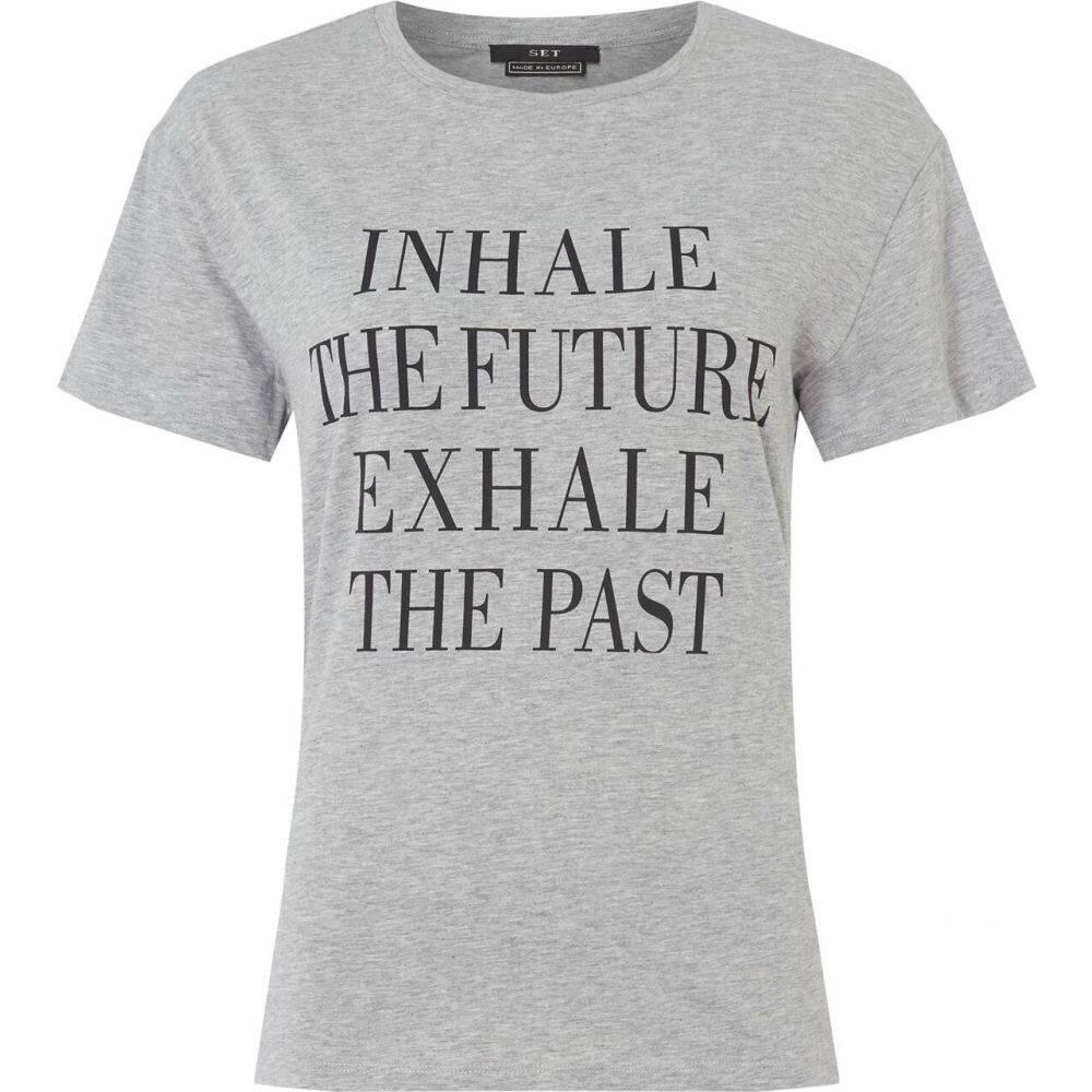 セット SET レディース Tシャツ トップス【inhale t shirt】LIGHT GREY
