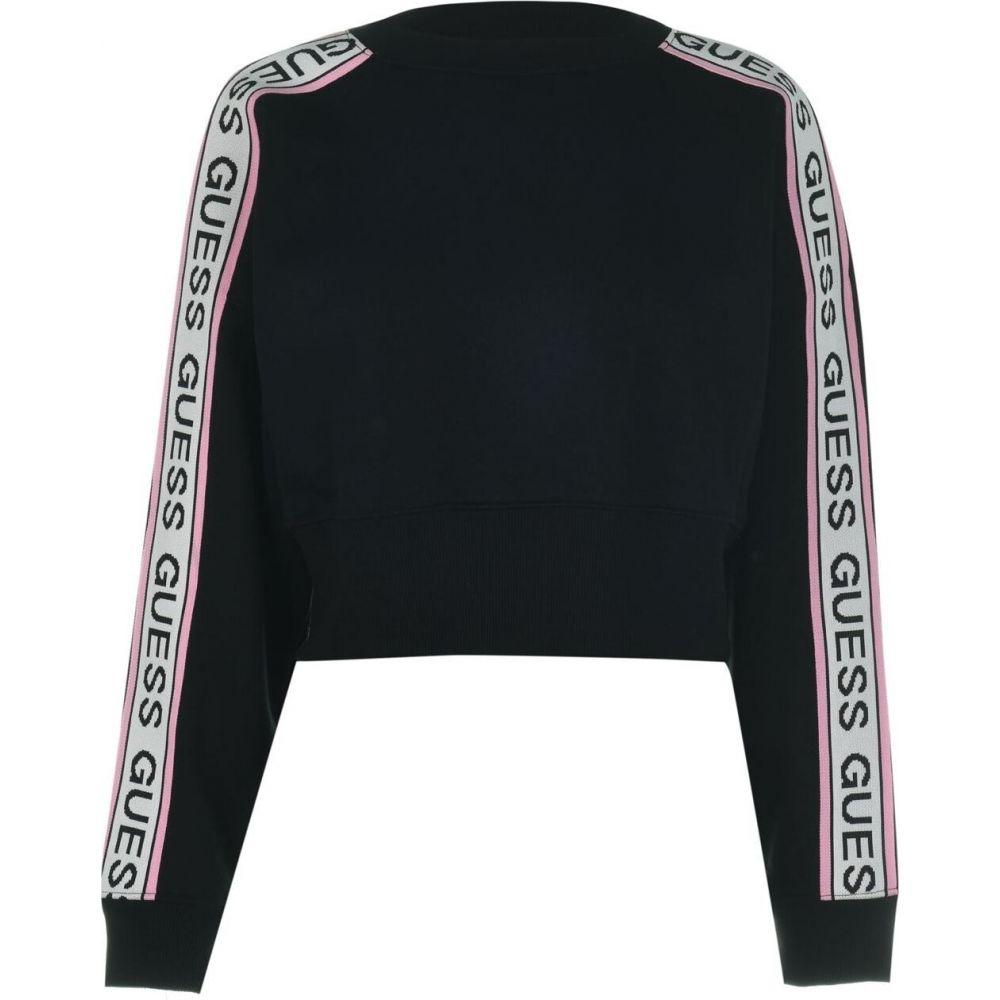 ゲス Guess レディース スウェット・トレーナー トップス【tape crew neck sweatshirt】Black