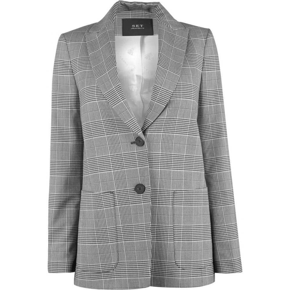 セット SET レディース スーツ・ジャケット アウター【single breasted check pattern blazer】BLACK