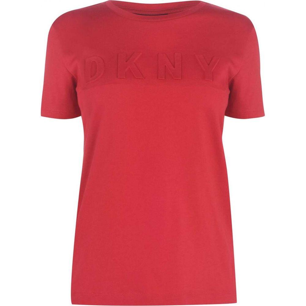 ダナ キャラン ニューヨーク DKNY レディース Tシャツ トップス【embossed t-shirt】ENGINE RED