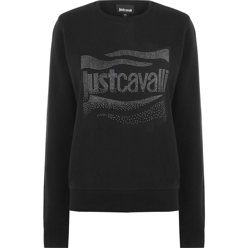 ジャスト カヴァリ JUST CAVALLI レディース スウェット・トレーナー トップス【embellished logo sweatshirt】Black