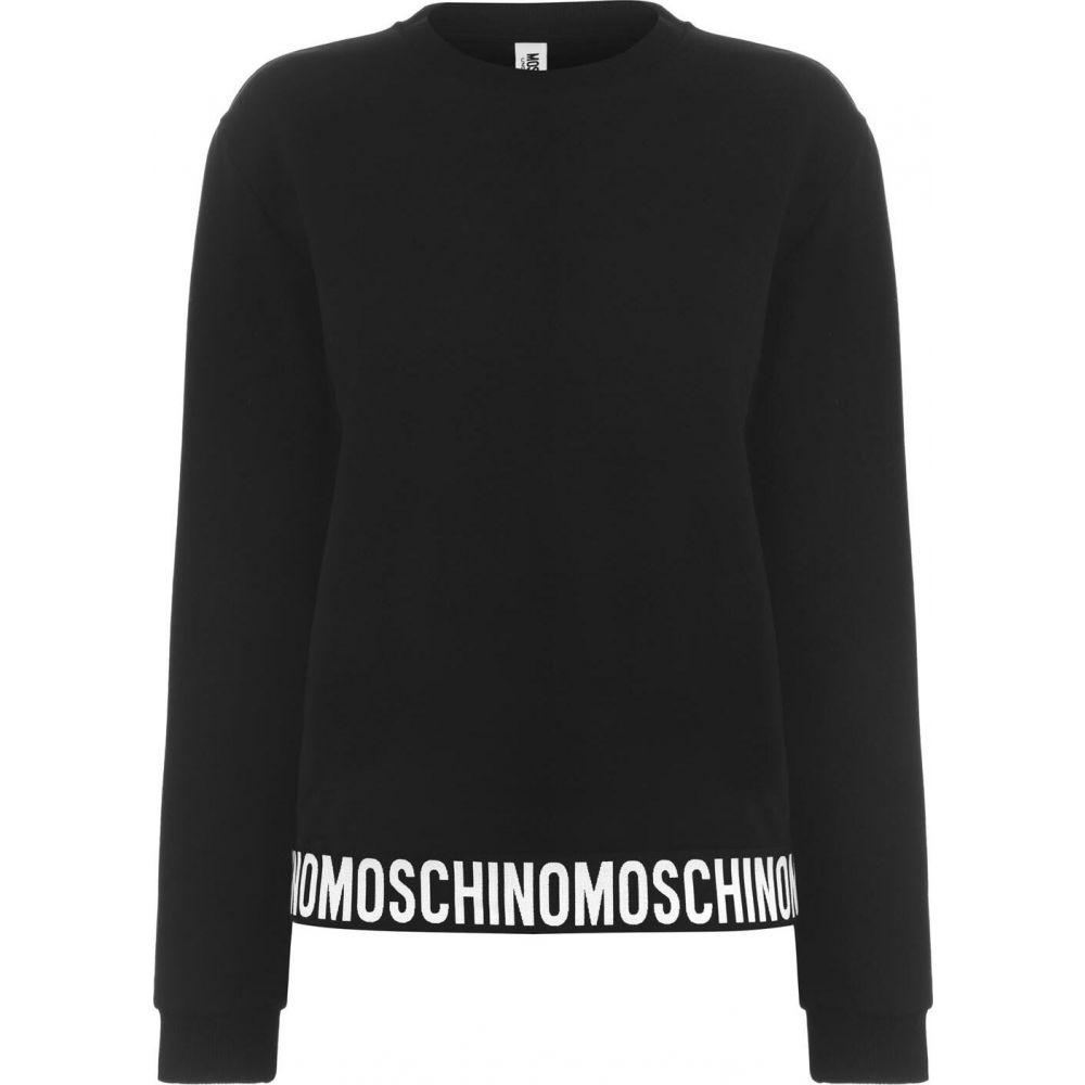 モスキーノ MOSCHINO レディース スウェット・トレーナー トップス【tape sweatshirt】Black