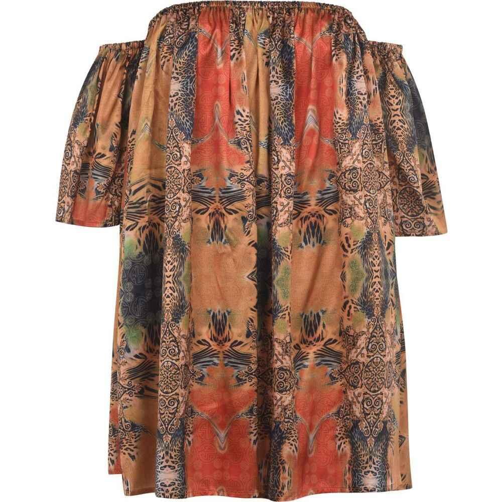 シアン マリー Sian Marie レディース ビーチウェア ワンピース・ドレス 水着・ビーチウェア【lulu ruffle off the shoulder beach dress】SAFARI PRINT