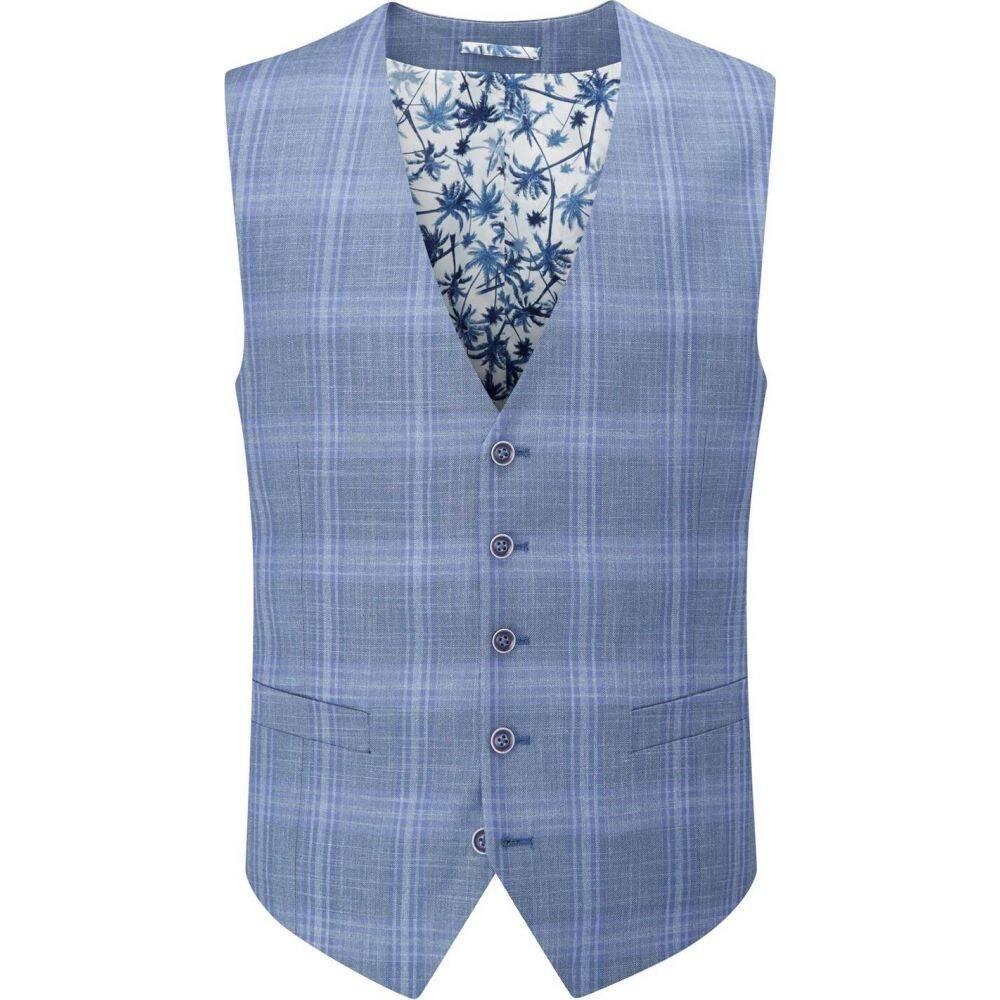スコープス Skopes メンズ ベスト・ジレ トップス【kaye check suit waistcoat】Light Blue