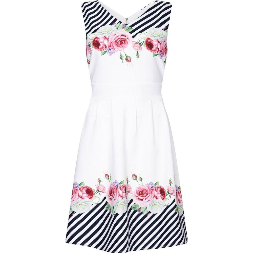 ユミ Yumi レディース パーティードレス スケータードレス ワンピース・ドレス【stripe and flower skater dress】Ivory
