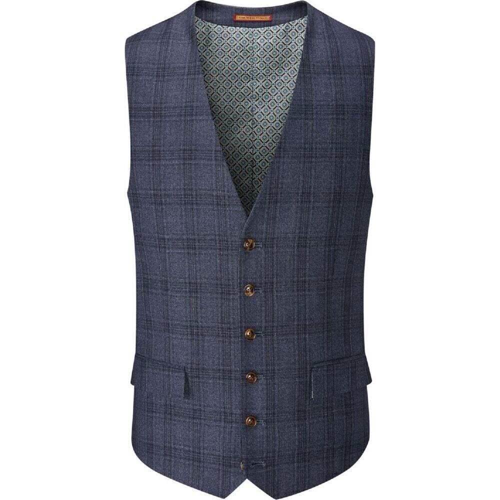 スコープス Skopes メンズ ベスト・ジレ トップス【minworth check suit waistcoat】Blue