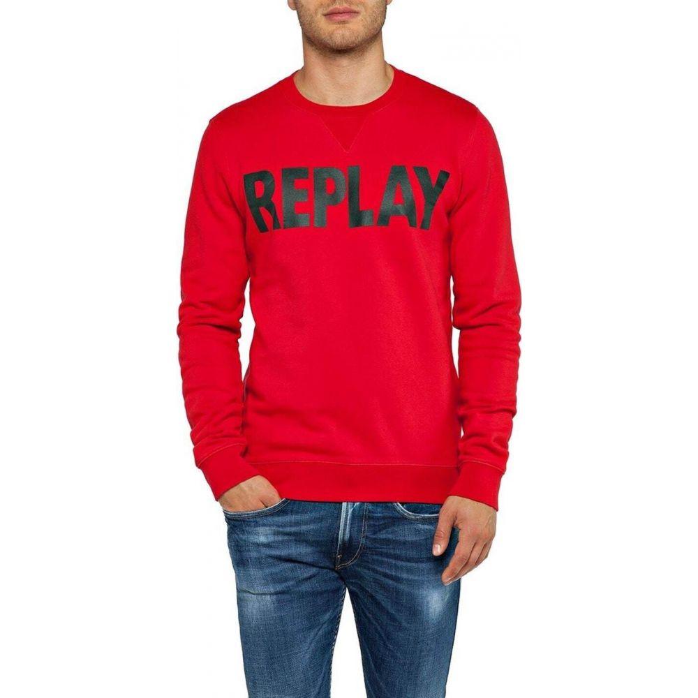 リプレイ Replay メンズ スウェット・トレーナー トップス【sweatshirt with logo replay】Ruby Red
