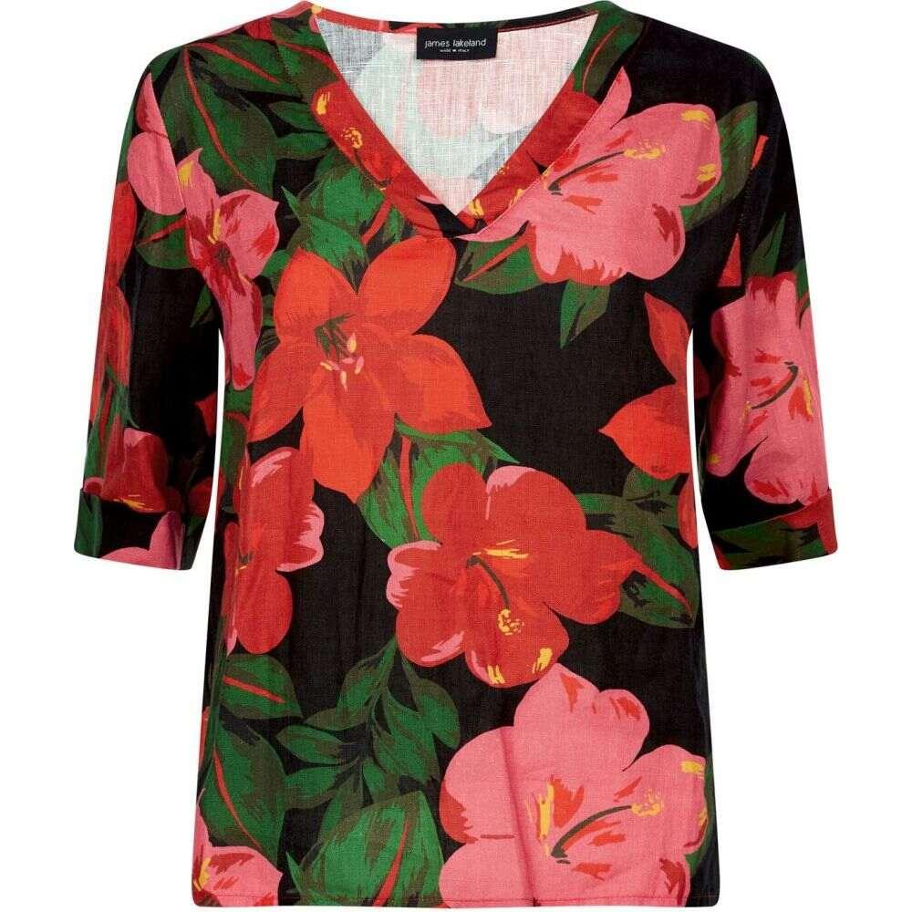 ジュームズ レイクランド James Lakeland レディース ブラウス・シャツ Vネック トップス【v-neck floral blouse】Black