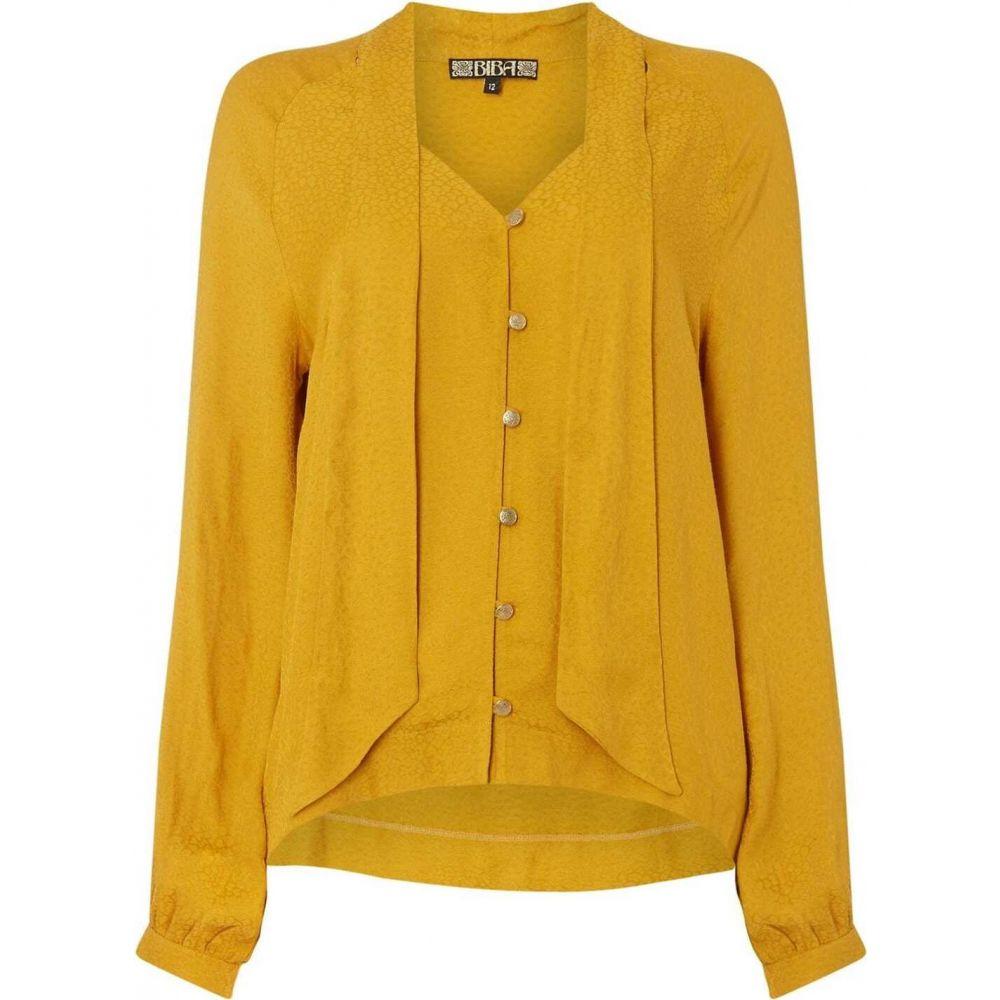 ビバ Biba レディース ブラウス・シャツ トップス【leopard jacquard pussybow blouse】Yellow