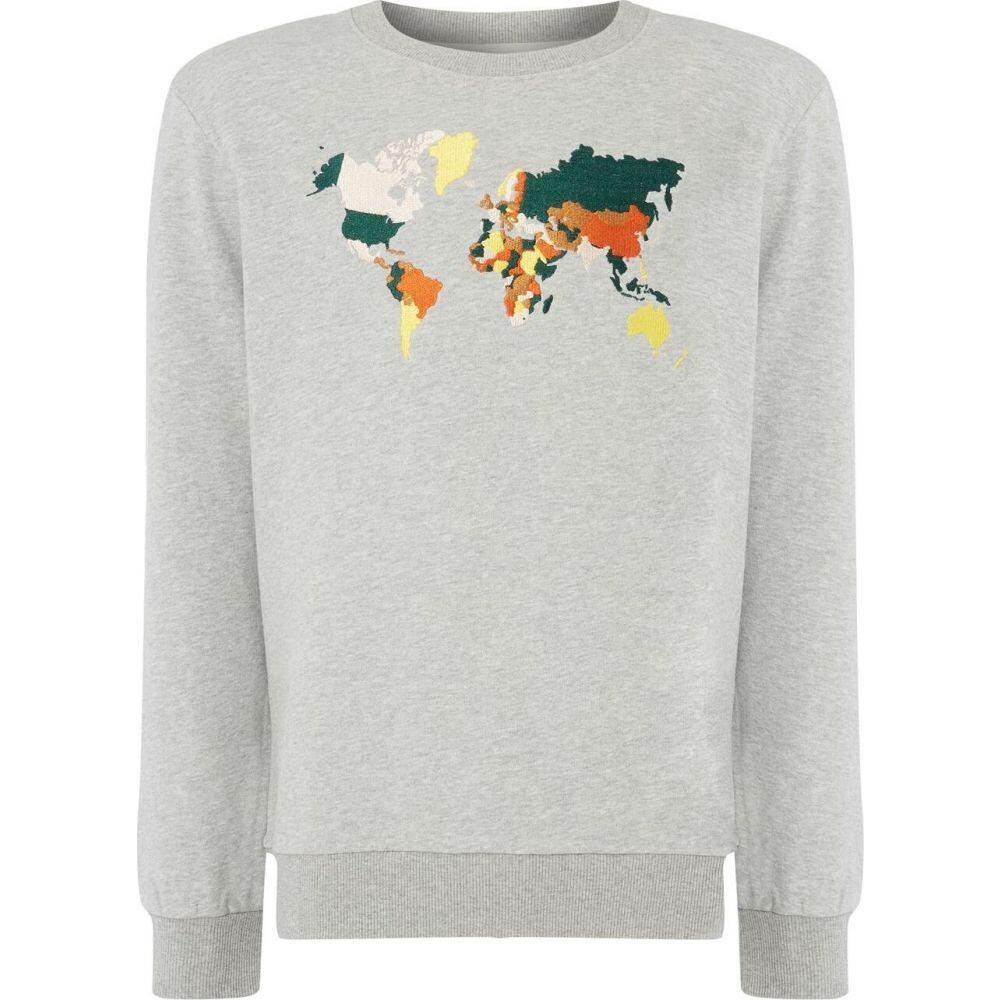 ヒム Hymn メンズ スウェット・トレーナー トップス【world map sweatshirt】GREY MARL