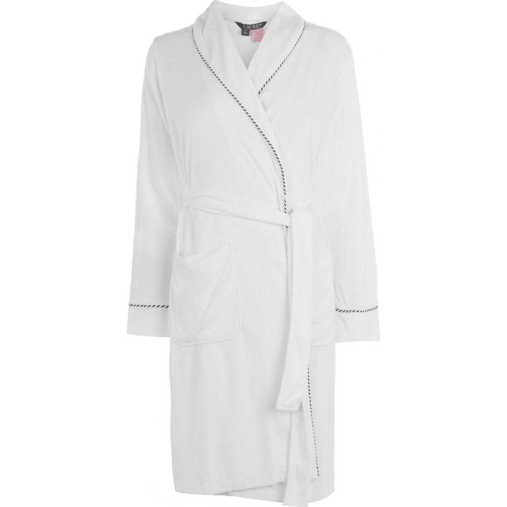 ラルフ ローレン Lauren Ralph Lauren Bodywear レディース ガウン・バスローブ インナー・下着【navy logo bath robe】WHITE