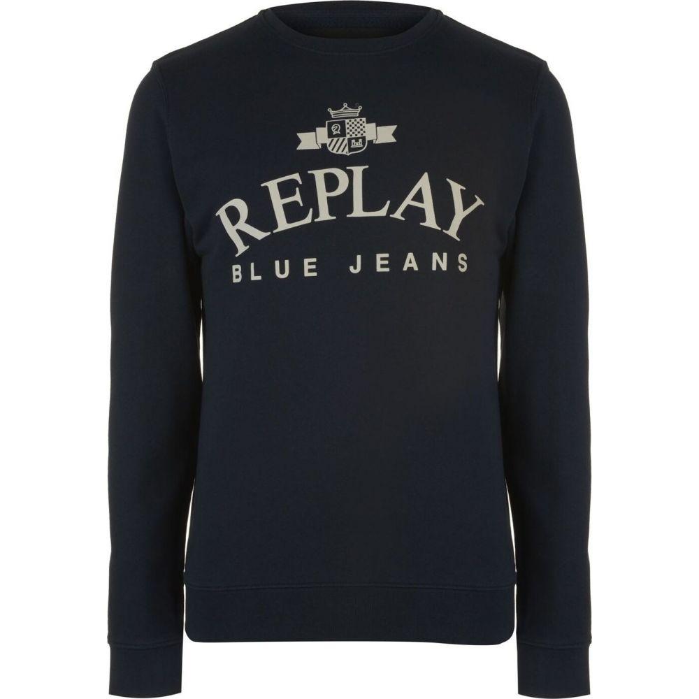 リプレイ メンズ トップス スーパーセール期間限定 スウェット トレーナー サイズ交換無料 Midnt jeans 毎日激安特売で 営業中です crew Blue Replay sweatshirt