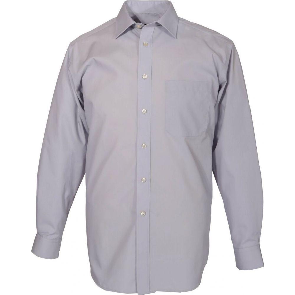 ダブルTWO Double Two メンズ シャツ トップス【King Size Plain Non-Iron Cotton Rich Shirt】Grey