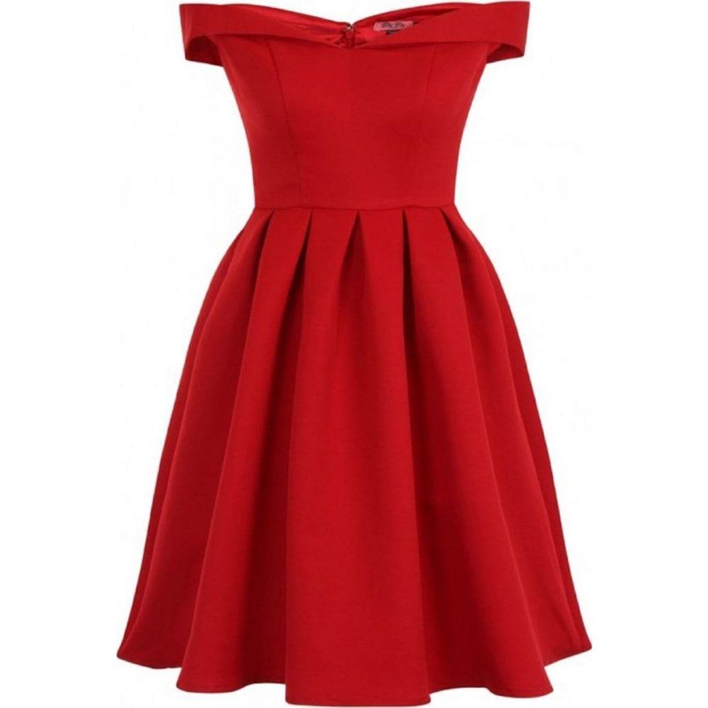 チチ Chi Chi レディース ワンピース ワンピース・ドレス【Floral Print Fold Over Bardot Midi Dress】Red