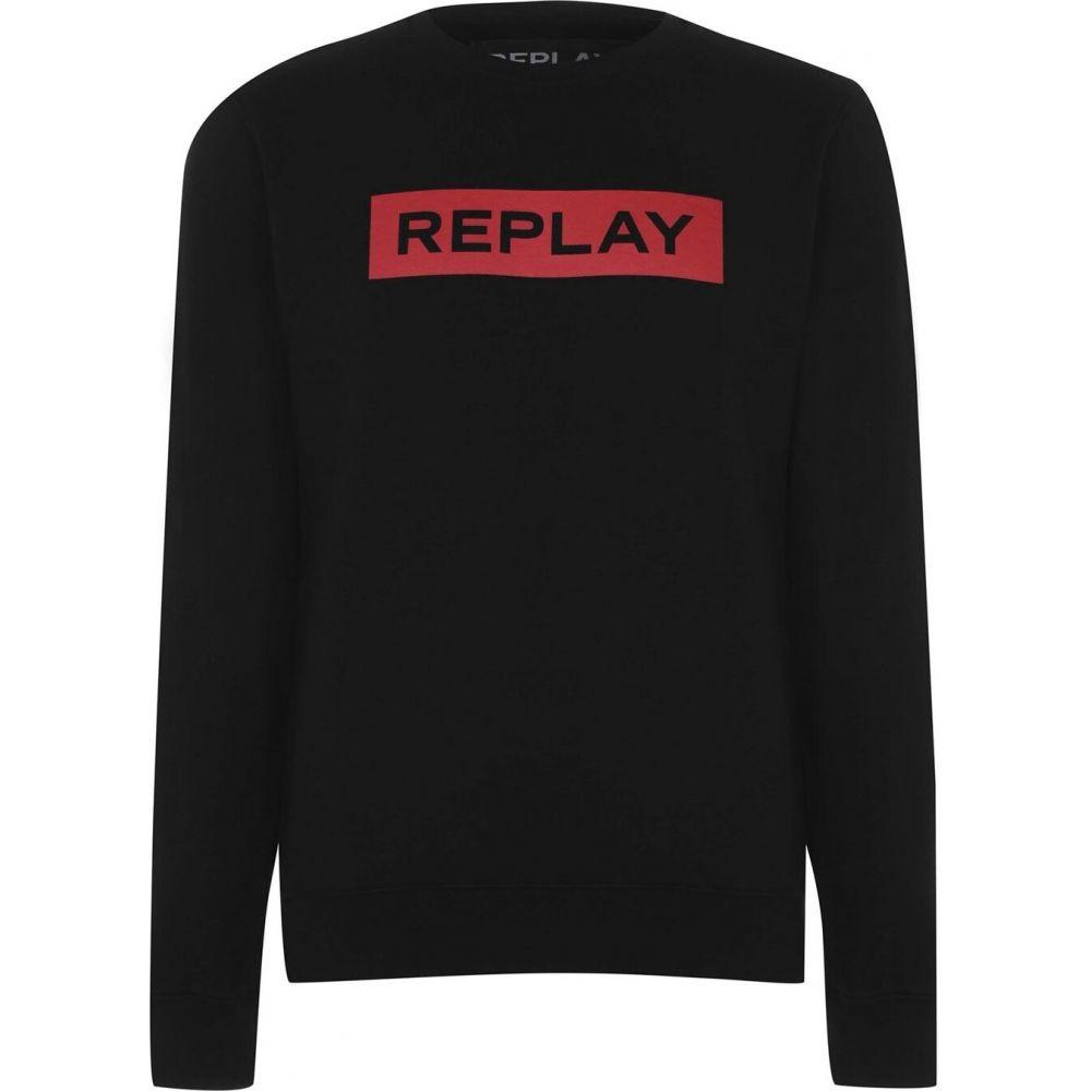 リプレイ Replay メンズ スウェット・トレーナー トップス【Block Logo Sweatshirt】Black