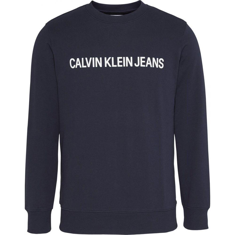 カルバンクライン Calvin Klein Jeans メンズ スウェット・トレーナー トップス【Cotton Logo Sweatshirt】Blue