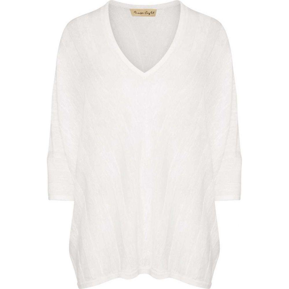 フェイズ エイト Phase Eight レディース トップス Vネック【Kaylee V Neck Chevron Linen Knit】White