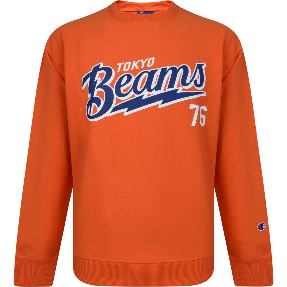 チャンピオン CHAMPION X BEAMS メンズ スウェット・トレーナー トップス【Crew Neck Sweatshirt】Orange