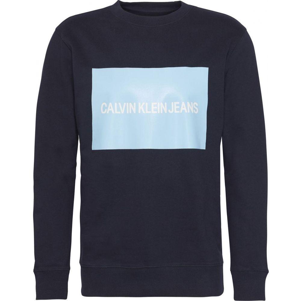 カルバンクライン Calvin Klein Jeans メンズ スウェット・トレーナー トップス【Box Logo Sweatshirt】Navy