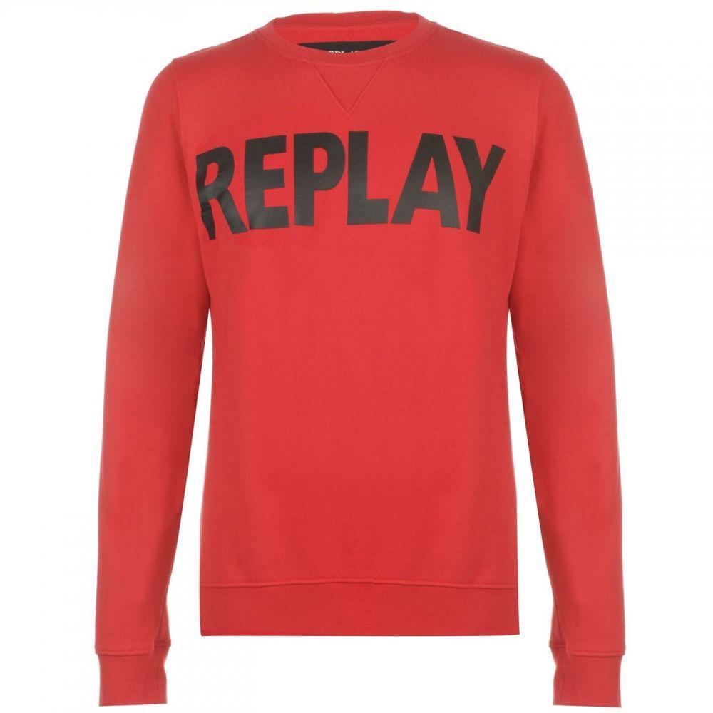 リプレイ メンズ 超人気 トップス スウェット トレーナー Ruby Sweatshirt サイズ交換無料 メーカー直売 Red Replay