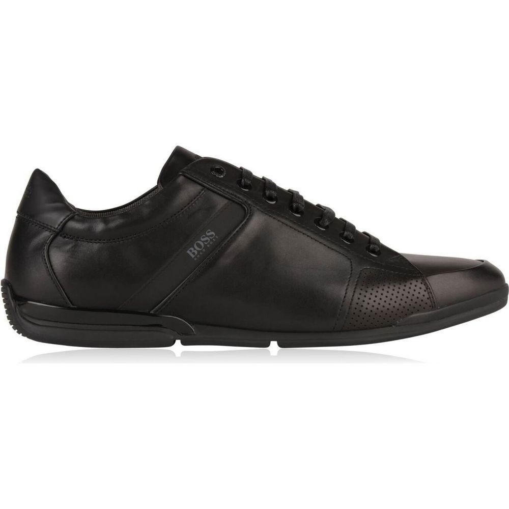 ヒューゴ ボス 即日出荷 メンズ シューズ 靴 スニーカー Black サイズ交換無料 Trainers 超人気 専門店 Top BOSS Leather ローカット Low Saturn