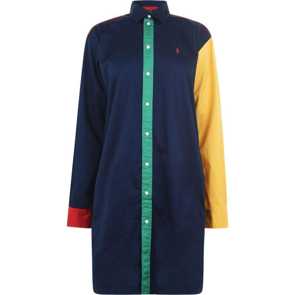 ラルフ ローレン Polo Ralph Lauren レディース ワンピース シャツワンピース ワンピース・ドレス【Long Sleeve Colourblock Shirt Dress】Blue