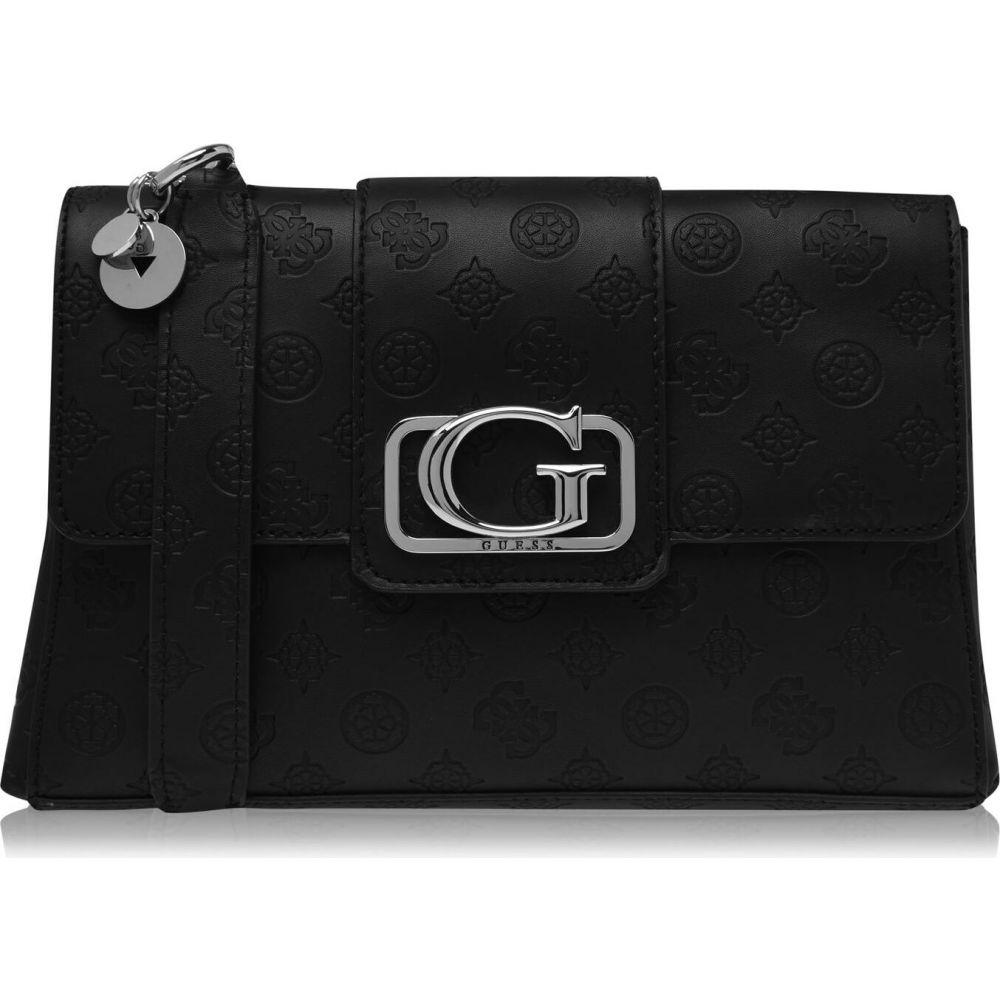 ゲス レディース 即納最大半額 バッグ ショルダーバッグ BLACK BLA サイズ交換無料 Guess Body Logo Peony Cross Emila 値下げ Bag