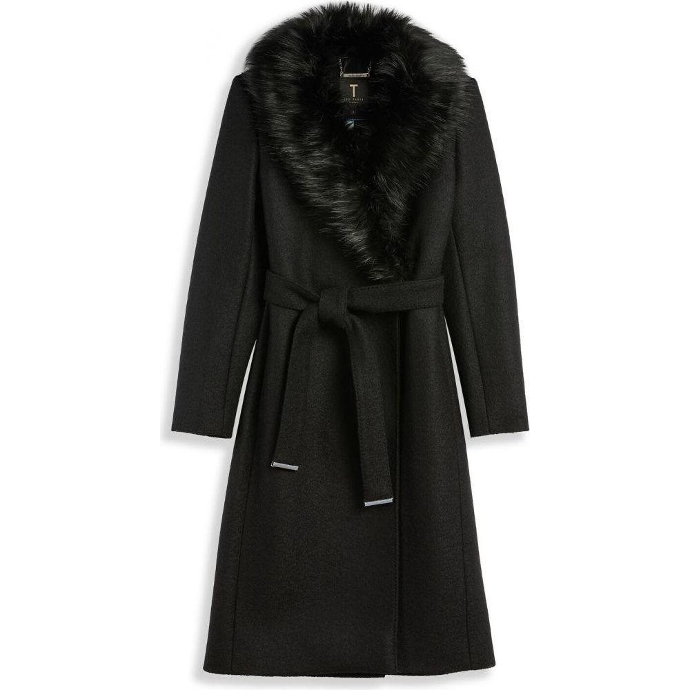 18%OFF テッドベーカー レディース アウター コート BLACK サイズ交換無料 Ted Baker 全品送料無料 Coat Faux Corinna Fur Collar ラップコート Wrap ファーコート