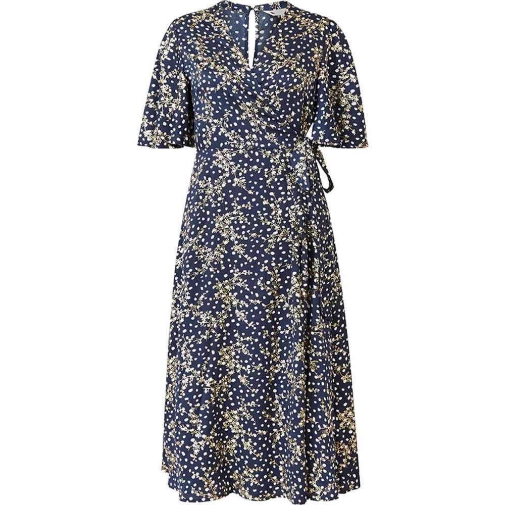 ワンピース・ドレス【Navy Yumi Foil ワンピース ユミ Printed レディース ミドル丈 Dress】Navy Midi